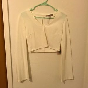 70's white bell sleeve crop top