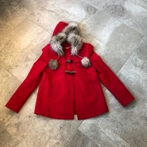 Juicy Couture Red Wool Faux Fur Collar Coat SZ P!