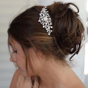 Wedding Hair Comb Crystal & Pearls Women Hair Side
