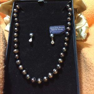 Pearl Earrings & Necklace Set