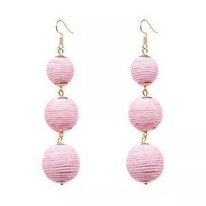 Baby Pink Thread Ball Earrings