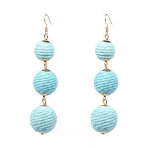 Baby Blue Thread Ball Earrings