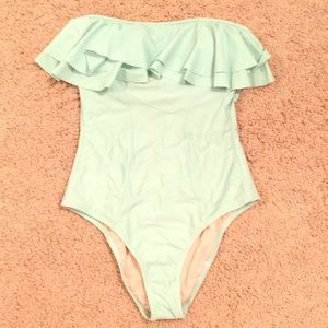 Mint one piece with flounce top