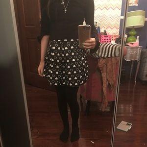 Pleated heart skirt scuba