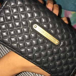 Black quilted leather wallet NWT