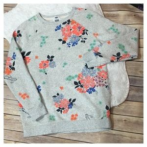 Old Navy Floral Print Sweatshirt- Gray