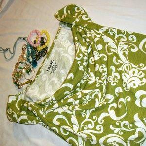 Green & White Simple Paisley Top Liz & Me 2X LN