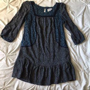 Anthropologie Navy Blue Boho Print Dress