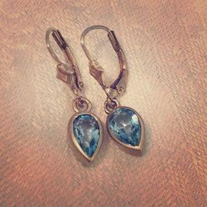 Dainty Blue Topaz and Silver Tear Drop Earrings