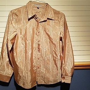 Foxcroft Gold toned holiday blouse