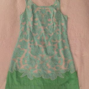 Lily Pulitzer dress size 12 Aqua & green with lace