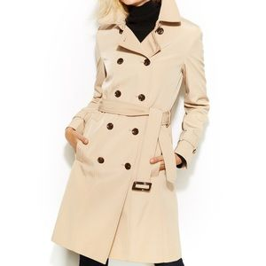 Latte Calvin Klein Belted Trench Coat Jacket
