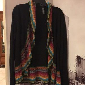 Black cardigan with color crochet detail