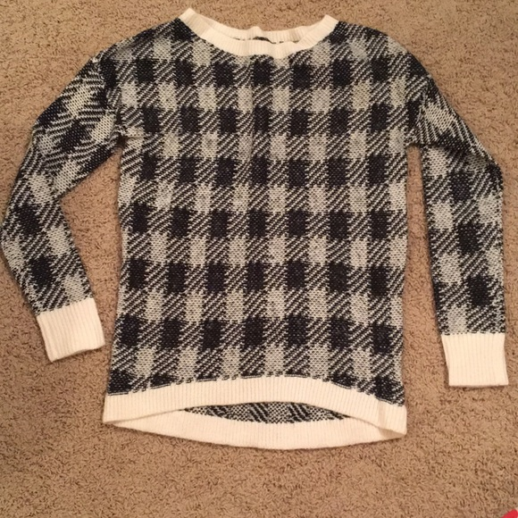 Express Sweaters Black And White Checkered Sweater Poshmark