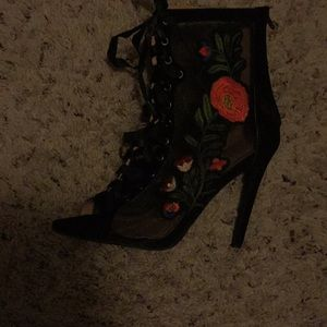 Rose Embroidered Heels