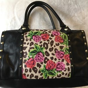 Betsey Johnson cheetah rose handbag purse