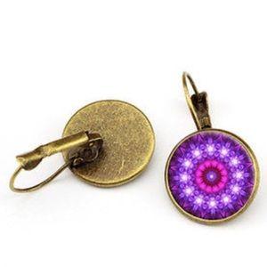Mandala Flower Glass & Bronze Overlay Earrings