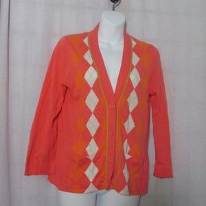 J.Crew Pink Argyle Cardigan Sweater Size L