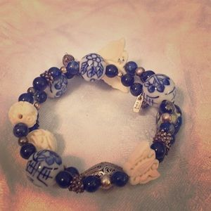 Jewelry - Blue Lapis, Marble and Silver Beaded Bracelet