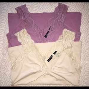 Set of Lace v neck fitted tanks