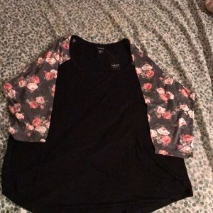 Floral and Black baseball Tee