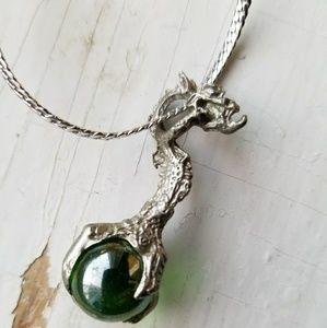 Vintage Dragon Crystal Drop Necklace