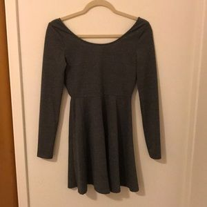 Sexy but casual low back long sleeve skater dress