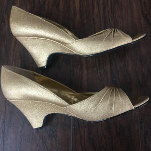 Soft Metallic Gold Short Wedge Heels