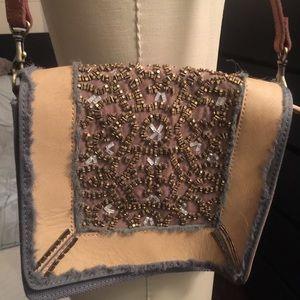 Beaded leather and canvas handbag