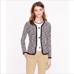 J. Crew Black White Boucle Sweater Jacket