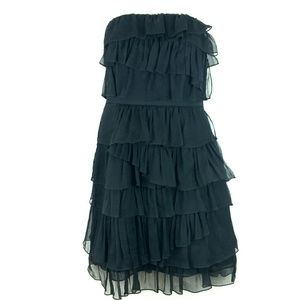 Strapless Tiered Black Silk Dress by J. Crew sz 0