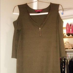 Green Dress with V neck zipper.