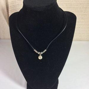 Round Crystal Gem Necklace on Black Cord