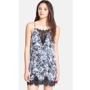 ASTR Small Floral Lace Trim Slip Dress Strappy