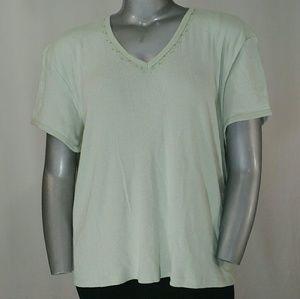 Elisabeth Lt. Green Short Sleeve Top, 3X