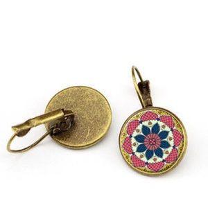 Flower Mandala Glass & Bronze Overlay Earrings