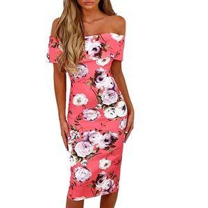 Off Shoulder Bodycon Midi Summer Dresses