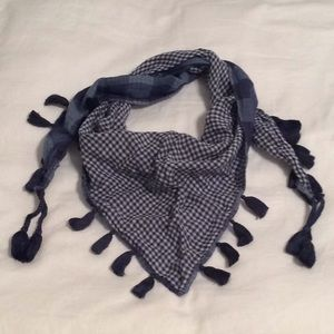 Blue Buffalo Check & Gingham Triangle Neck Scarf