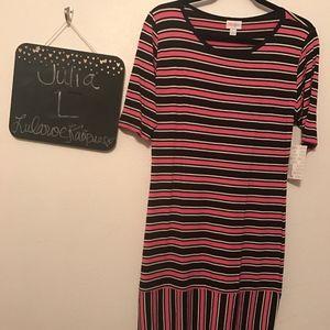 LuLaRoe Julia. Black, gray, pink stripes
