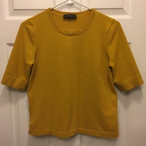 Ann Taylor Mustard Yellow Blouse with Cutout Back