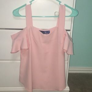 Blush Light Pink Cold Shoulder Ruffle Top