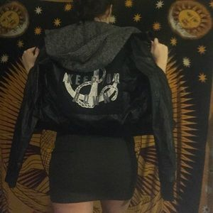 Leather jacket with back detail