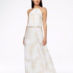 MSK Metallic-Print Pleated Blouson Gown White/Gold