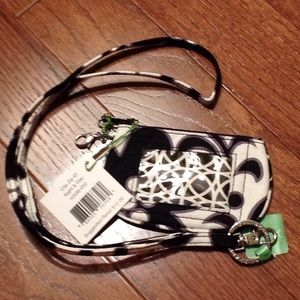 Vera Bradley Clip Zip ID and Lanyard in Night&day
