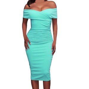 Off Shoulder Bodycon Midi Dress