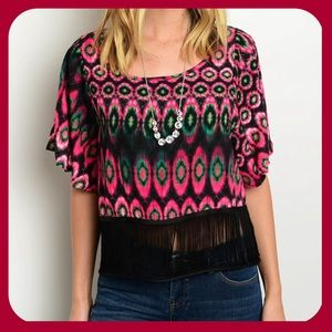 Tops - COMING SOON Black Fuchsia Olive Top(MADE USA)