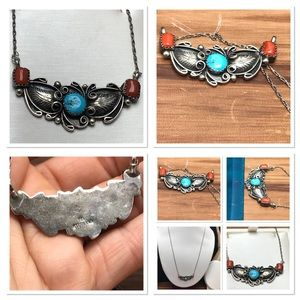Native American 925 turquoise and coral necklace
