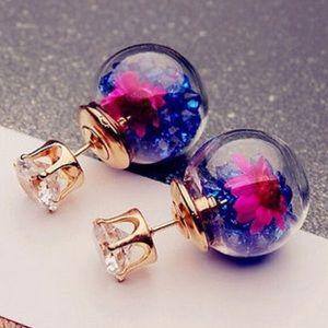 Double Sided Crystal Ball Flower Earrings