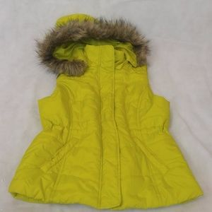 NEON GREEN PUFFY VEST WITH FAUX FUR HOOD