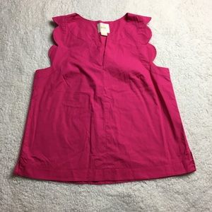 Anthropologie Maeve pink scalloped Top